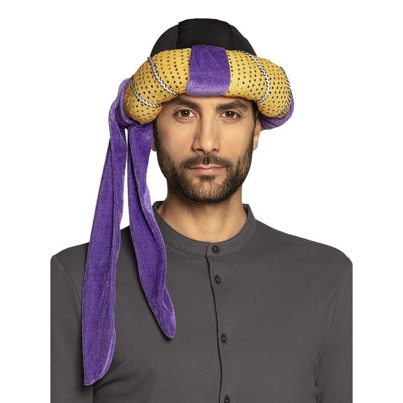 Arabische feesthoed goud/paars
