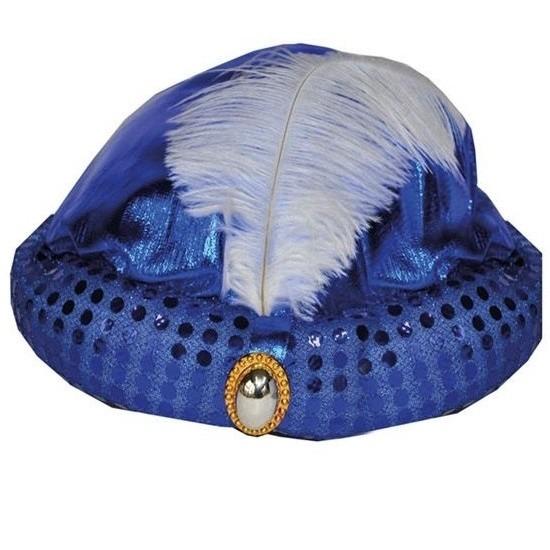 Blauw Arabisch Sultan hoedje met diamant en veer
