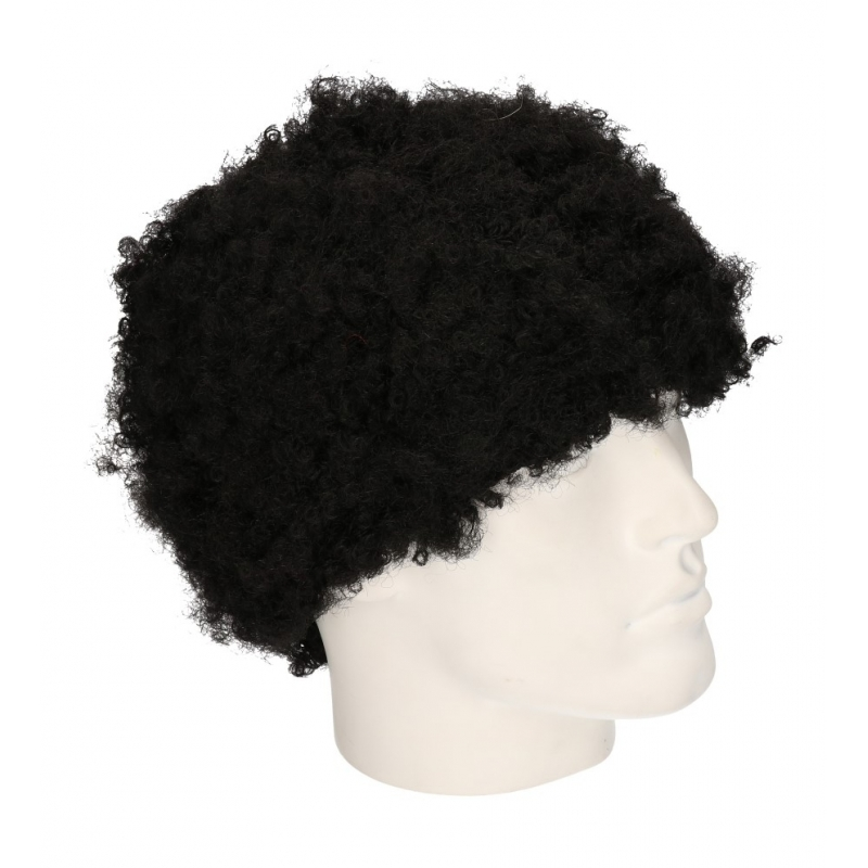 Pruik zwarte afro krulletjes