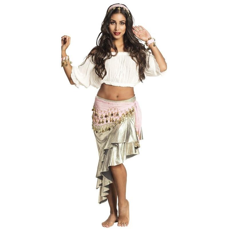Verkleed set Harem danseres lichtroze